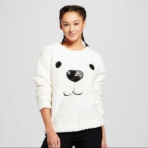 Puppy Dog fleece Sweater with Sequins